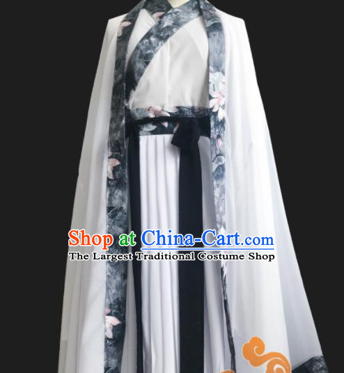 Chinese Traditional Cosplay Swordswoman Fairy Princess White Dress Custom Ancient Jin Dynasty Imperial Consort Costume for Women