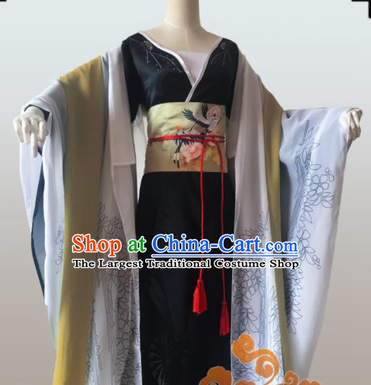 Chinese Traditional Cosplay Geisha Fairy Dress Custom Ancient Qin Dynasty Imperial Consort Costume for Women