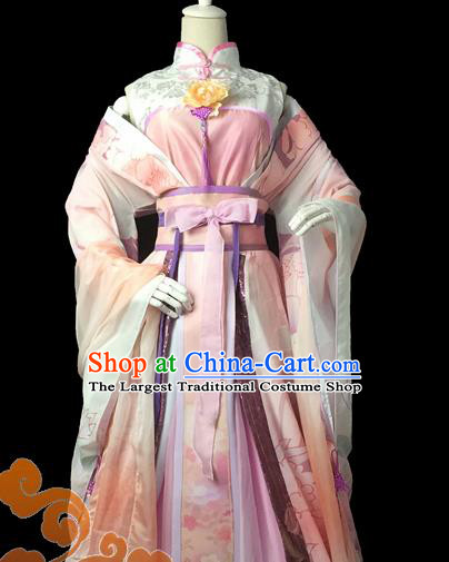 Chinese Traditional Cosplay Swordswoman Fairy Pink Dress Custom Ancient Tang Dynasty Princess Costume for Women