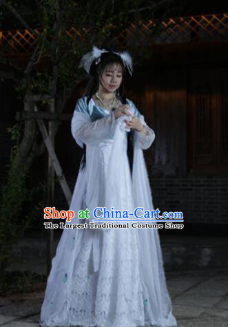 Chinese Traditional Cosplay Swordswoman Fairy White Dress Custom Ancient Tang Dynasty Princess Costume for Women