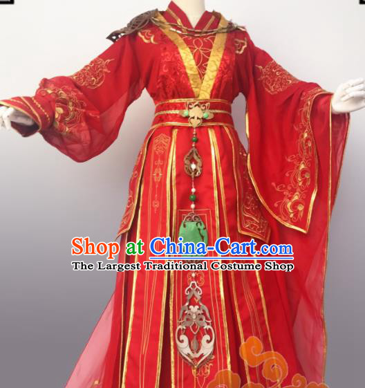 Chinese Traditional Cosplay Female Knight Wedding Red Dress Custom Ancient Swordswoman Princess Costume for Women