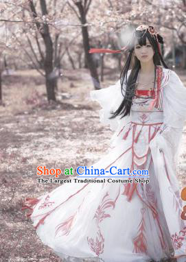 Chinese Traditional Cosplay Imperial Consort White Dress Custom Ancient Swordswoman Princess Costume for Women