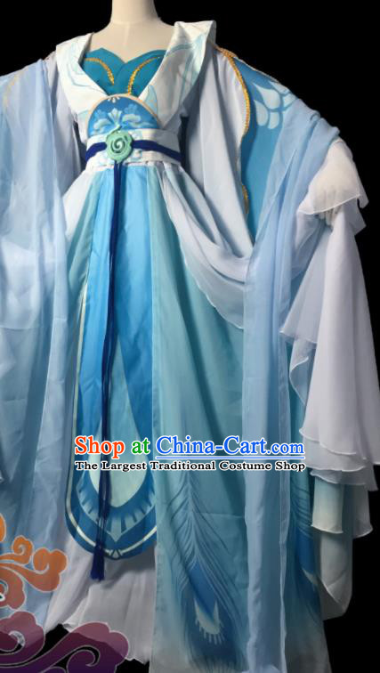 Chinese Traditional Cosplay Fairy Princess Blue Dress Custom Ancient Swordswoman Costume for Women