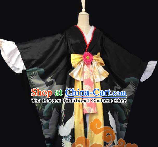 Chinese Traditional Cosplay Geisha Fairy Princess Black Dress Custom Ancient Swordswoman Costume for Women