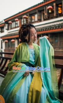Chinese Traditional Cosplay Courtesan Fairy Princess Green Dress Custom Ancient Swordswoman Costume for Women