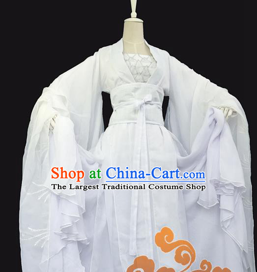 Chinese Traditional Cosplay Maidservants White Dress Custom Ancient Swordswoman Costume for Women