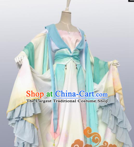 Chinese Traditional Cosplay Fairy Green Dress Custom Ancient Tang Dynasty Swordswoman Princess Costume for Women