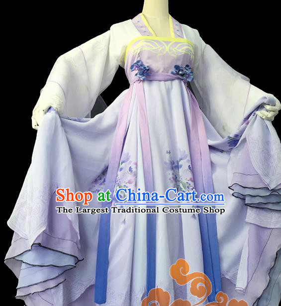 Chinese Traditional Cosplay Court Maid Purple Dress Custom Ancient Fairy Swordswoman Costume for Women