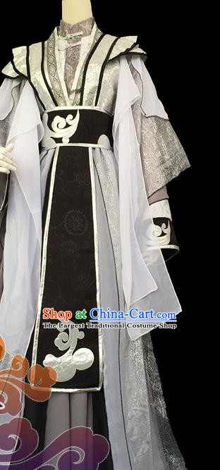 Custom Chinese Ancient Cosplay Taoist Priest Grey Clothing Traditional Swordsman Prince Costume for Men