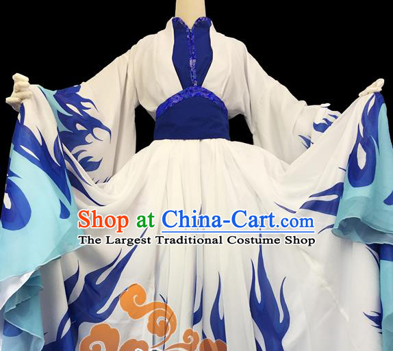 Chinese Traditional Cosplay Female Knight Heroine Blue Dress Custom Ancient Swordswoman Costume for Women
