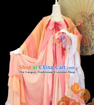 Traditional Chinese Cosplay Maidservants Orange Dress Ancient Swordswoman Costume for Women