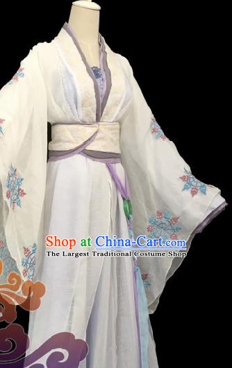 Traditional Chinese Cosplay Imperial Consort White Dress Ancient Swordswoman Costume for Women