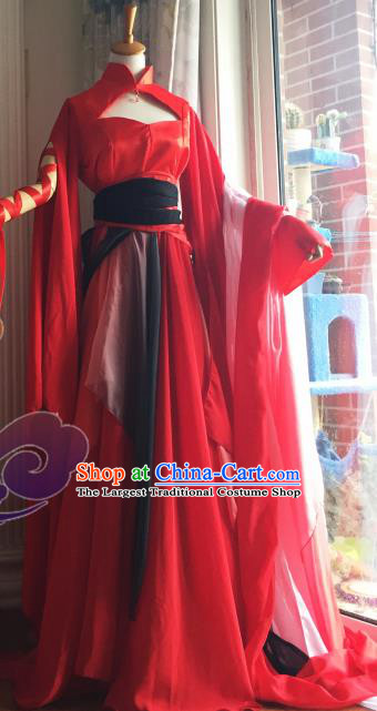 Traditional Chinese Cosplay Fairy Princess Red Dress Ancient Court Lady Swordswoman Costume for Women