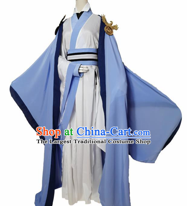 Chinese Ancient Cosplay Swordsman Blue Clothing Custom Traditional Royal Prince Costume for Men