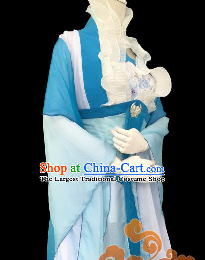 Traditional Chinese Cosplay Fairy Princess Blue Dress Ancient Court Lady Swordswoman Costume for Women