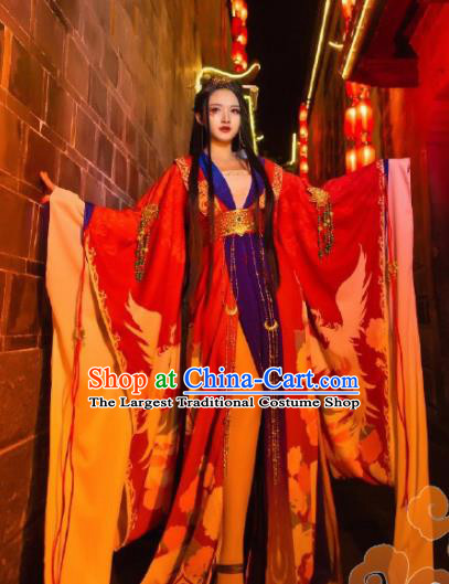 Chinese Traditional Cosplay Fairy Princess Red Dress Custom Ancient Tang Dynasty Imperial Consort Swordswoman Princess Costume for Women