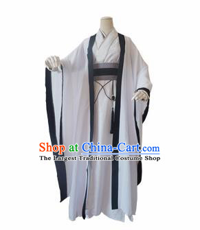 Chinese Ancient Cosplay Swordsman White Clothing Custom Traditional Nobility Childe Costume for Men
