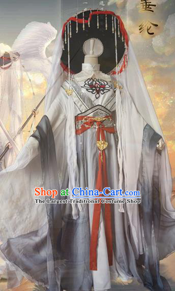 Chinese Traditional Cosplay Swordswoman Taoist Nun Dress Custom Ancient Fairy Costume for Women