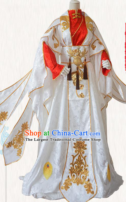 Chinese Ancient Cosplay Prince Swordsman White Clothing Custom Traditional Nobility Childe Costume for Men