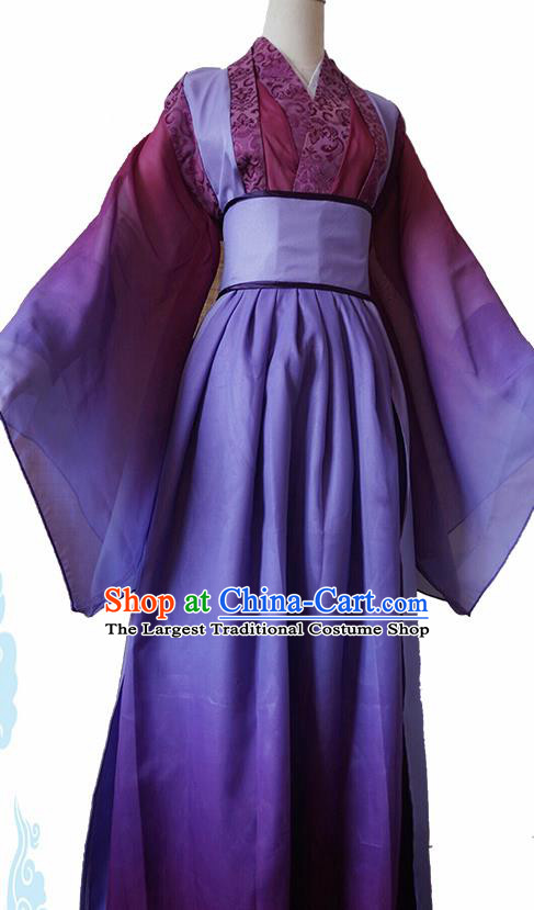 Chinese Traditional Cosplay Swordswoman Purple Dress Custom Ancient Female Castellan Costume for Women