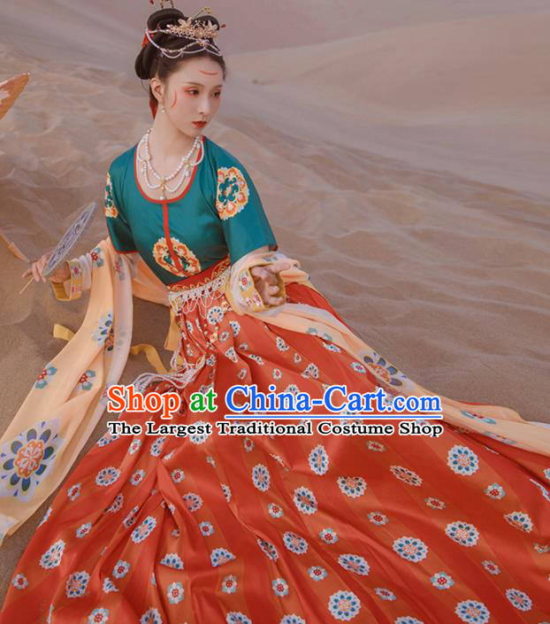 Ancinet Chinese Tang Dynasty Royal Princess Hanfu Dress Traditional Flying Apsaras Dance Replica Costumes for Women