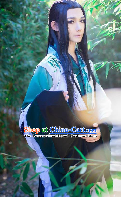 Custom Chinese Ancient Prince Nobility Childe Green Clothing Traditional Cosplay Swordsman Costume for Men