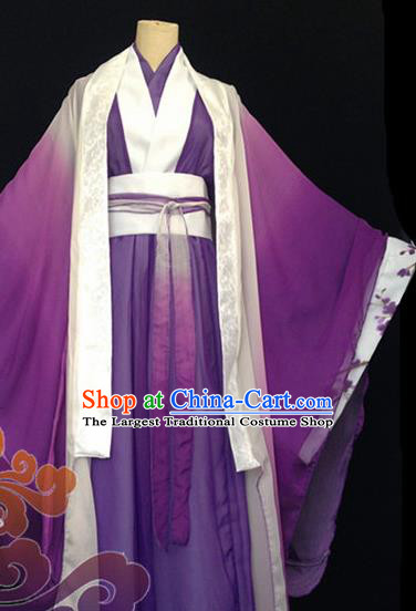 Custom Chinese Ancient Prince Nobility Childe Purple Clothing Traditional Cosplay Swordsman Costume for Men