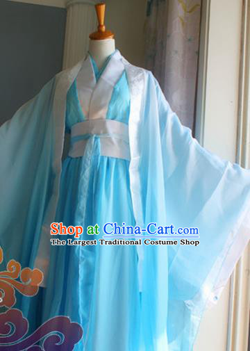 Custom Chinese Ancient Prince Nobility Childe Blue Clothing Traditional Cosplay Swordsman Costume for Men