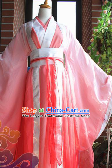 Traditional Chinese Cosplay Palace Princess Pink Dress Ancient Court Lady Swordswoman Costume for Women