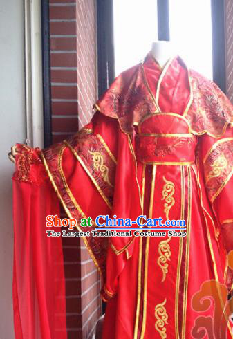 Traditional Chinese Cosplay Palace Princess Wedding Red Dress Ancient Court Lady Swordswoman Costume for Women