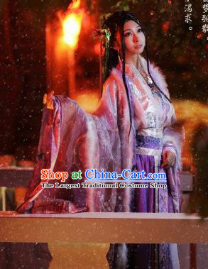 Traditional Chinese Cosplay Princess Consort Purple Dress Ancient Court Lady Swordswoman Costume for Women