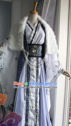 Custom Chinese Ancient Royal Prince Nobility Childe Lilac Clothing Traditional Cosplay Swordsman Costume for Men
