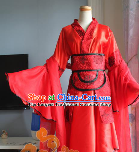 Traditional Chinese Cosplay Fairy Court Lady Red Dress Ancient Swordswoman Costume for Women