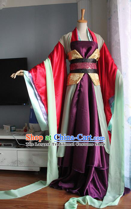 Traditional Chinese Cosplay Court Imperial Consort Purple Dress Ancient Fairy Swordswoman Costume for Women