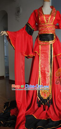 Traditional Chinese Cosplay Court Princess Red Dress Ancient Fairy Swordswoman Costume for Women