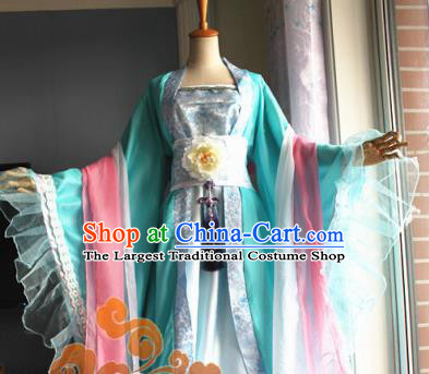 Traditional Chinese Cosplay Court Princess Green Dress Ancient Fairy Swordswoman Costume for Women