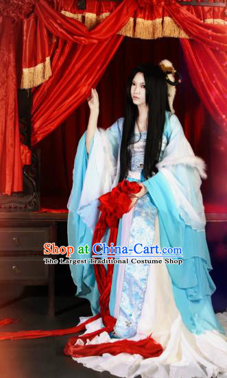 Traditional Chinese Cosplay Court Imperial Consort Blue Dress Ancient Fairy Swordswoman Costume for Women