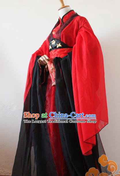 Custom Chinese Ancient King Wedding Red Clothing Traditional Cosplay Swordsman Costume for Men