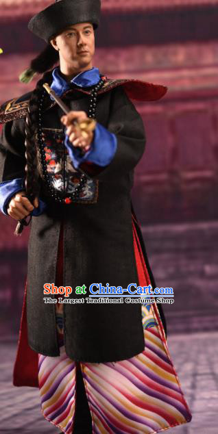 Chinese Ancient Manchu Official Clothing Traditional Qing Dynasty Officer Prince Costumes Complete Set for Men