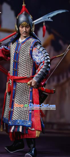 Chinese Ancient General Blue Armor and Helmet Traditional Han Dynasty Military Officer Costumes Complete Set for Men