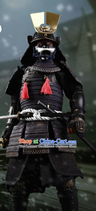 Japanese Ancient Warrior Black Armor and Helmet Traditional Asian Japan General Samurai Costumes Complete Set for Men