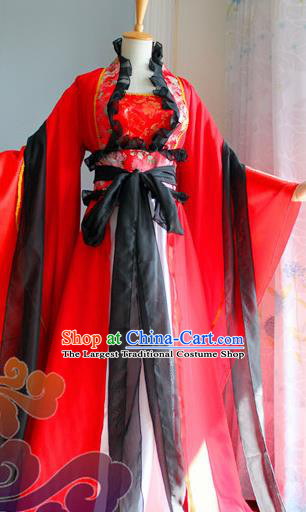 Traditional Chinese Cosplay Goddess Queen Red Dress Ancient Fairy Swordswoman Costume for Women