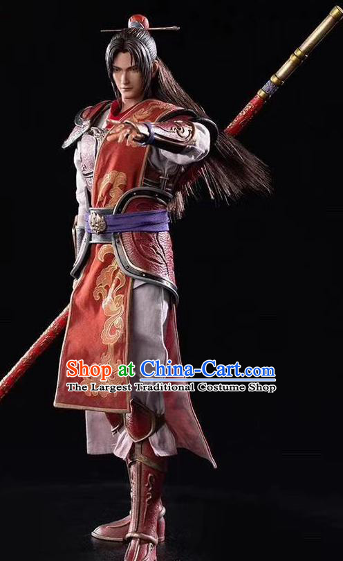 Chinese Ancient Cosplay General Zhou Yu Armor and Helmet Traditional Military Officer Costumes Complete Set for Men