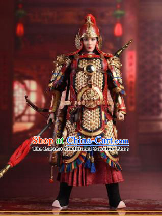 Chinese Ancient Cosplay General Qin Liangyu Armor and Helmet Traditional Han Dynasty Military Officer Costumes Complete Set for Men