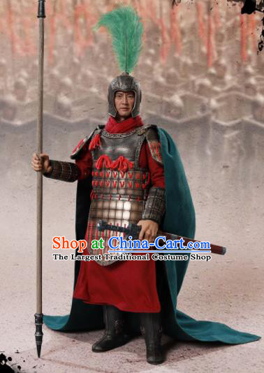 Chinese Ancient Cosplay General Zhao Kuo Armor and Helmet Traditional Qin Dynasty Military Officer Costumes Complete Set for Men