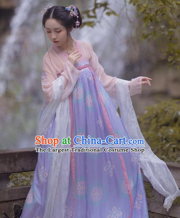 Chinese Ancient Tang Dynasty Palace Lady Lilac Hanfu Dress Traditional Court Maid Costumes for Women