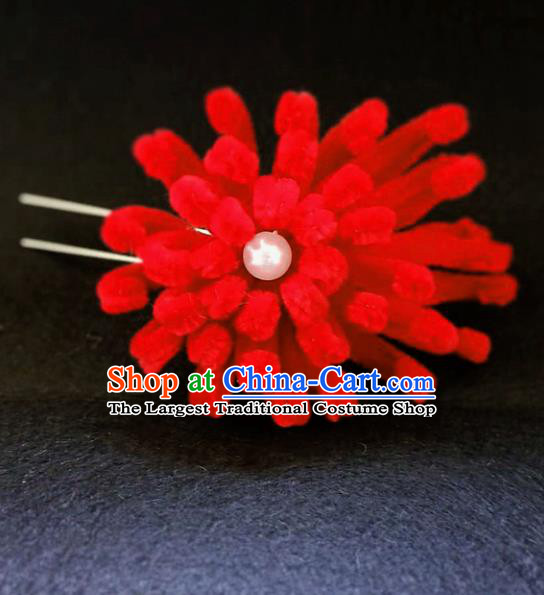 Chinese Ancient Qing Dynasty Court Red Velvet Chrysanthemum Hairpins Traditional Hanfu Handmade Hair Accessories for Women
