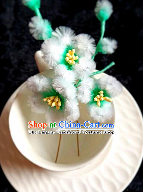 Chinese Ancient Qing Dynasty Court Velvet Plum Hairpins Traditional Hanfu Handmade Hair Accessories for Women
