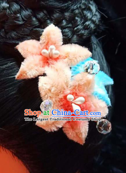 Chinese Ancient Qing Dynasty Court Orange Velvet Peach Flowers Hairpins Traditional Hanfu Handmade Hair Accessories for Women