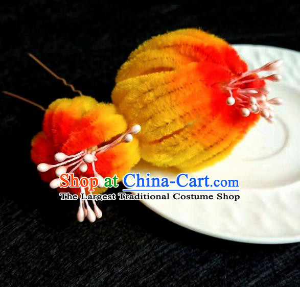 Chinese Ancient Qing Dynasty Court Yellow Velvet Chrysanthemum Hairpins Traditional Hanfu Handmade Hair Accessories for Women